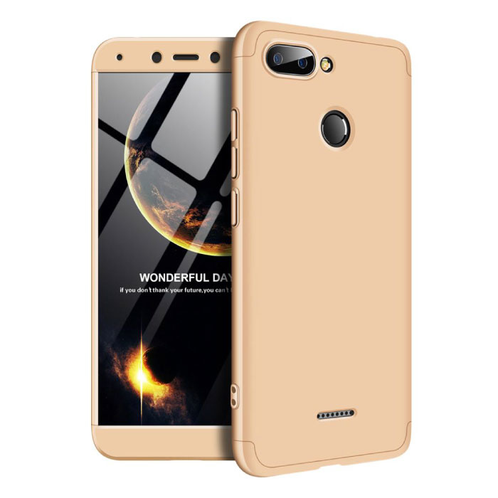 Xiaomi Redmi 6A Full Cover - 360° Body Hoesje Case + Screenprotector Tempered Glass Goud