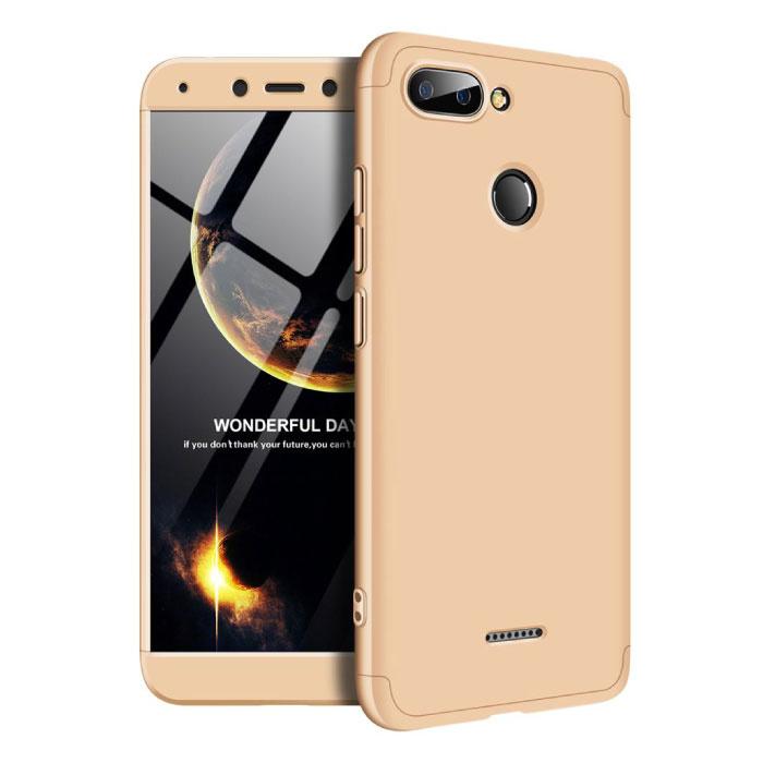 Xiaomi Redmi 9C Full Cover - 360° Body Hoesje Case + Screenprotector Tempered Glass Goud