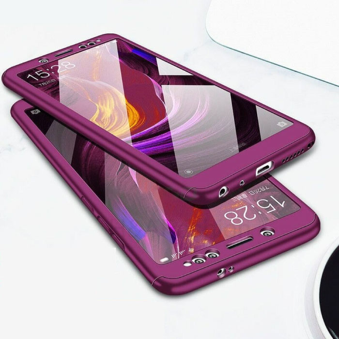 Xiaomi Redmi 7 Full Cover - 360° Body Hoesje Case + Screenprotector Tempered Glass Paars