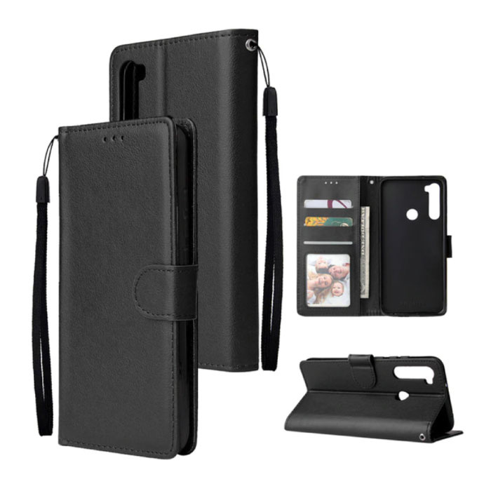Xiaomi Redmi 9 Leren Flip Case Portefeuille - PU Leer Wallet Cover Cas Hoesje Zwart