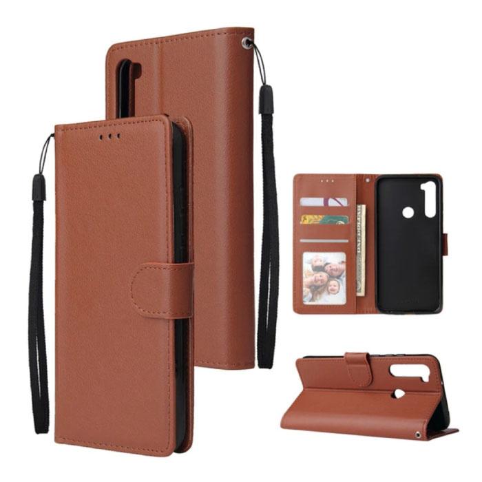 Xiaomi Redmi 5 Plus Leather Flip Case Wallet - PU Leather Wallet Cover Cas Case Brown