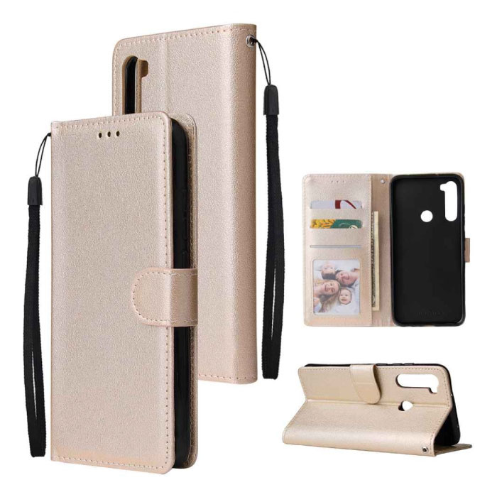 Xiaomi Redmi Note 7 Leren Flip Case Portefeuille - PU Leer Wallet Cover Cas Hoesje Goud