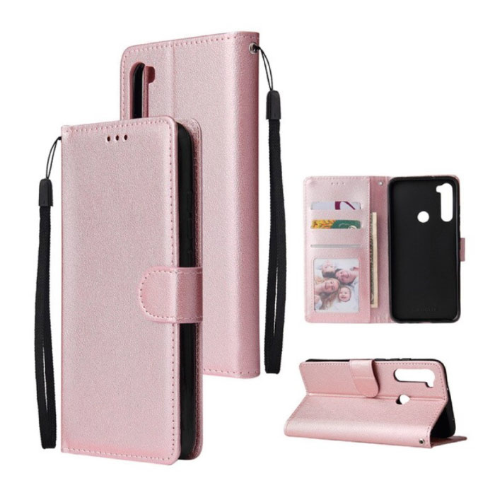 Xiaomi Redmi Note 9 Leren Flip Case Portefeuille - PU Leer Wallet Cover Cas Hoesje Roze