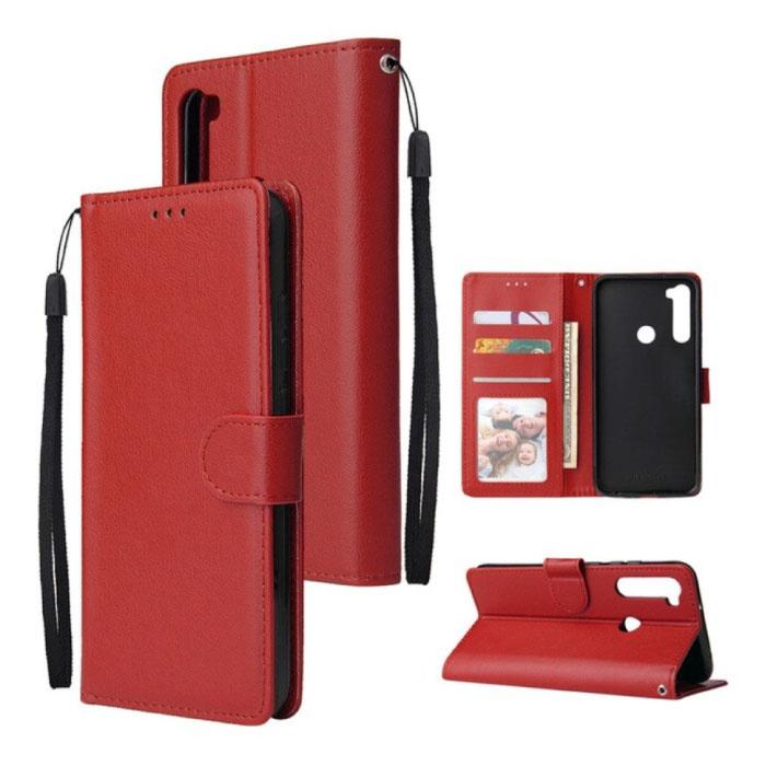 Xiaomi Redmi 9 Leren Flip Case Portefeuille - PU Leer Wallet Cover Cas Hoesje Rood