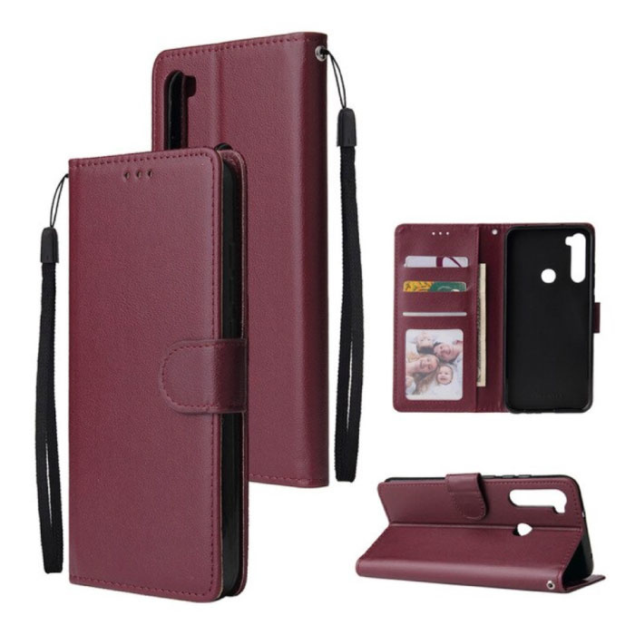 Xiaomi Redmi 9 Leren Flip Case Portefeuille - PU Leer Wallet Cover Cas Hoesje Bordeaux