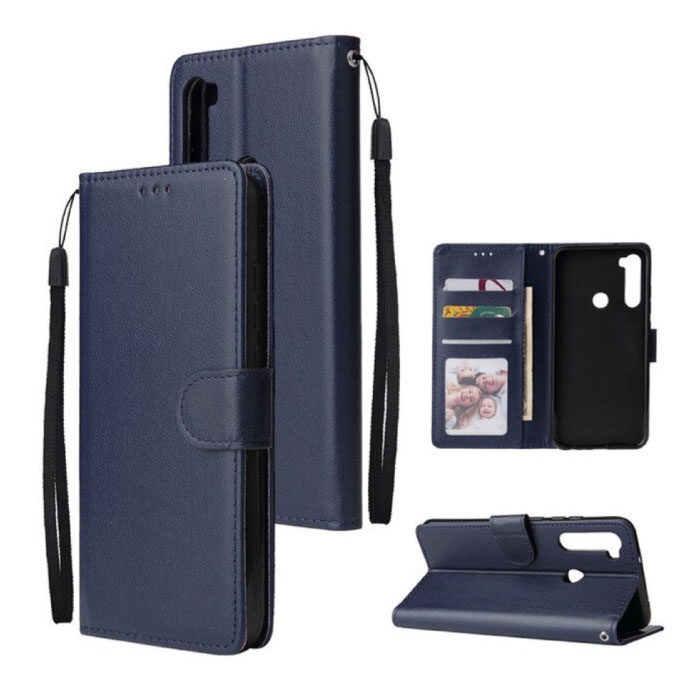 Xiaomi Redmi Note 7 Leren Flip Case Portefeuille - PU Leer Wallet Cover Cas Hoesje Blauw