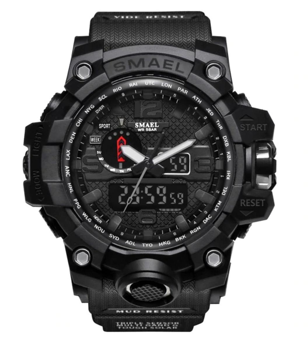 Military Dive Watch für Männer - Gummiband Quarzwerk Analog Digital für Männer Schwarz