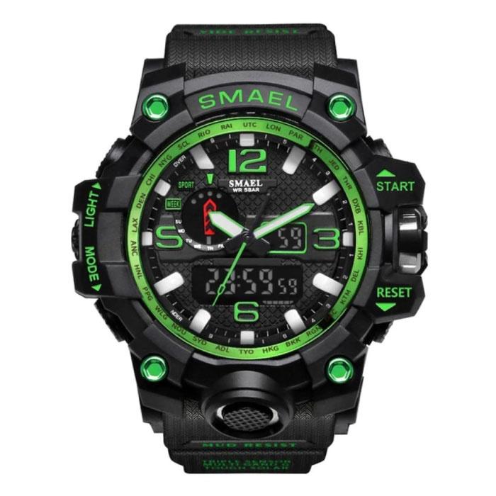 Military Dive Watch für Männer - Gummiband Quarzwerk Analog Digital für Männer Grün