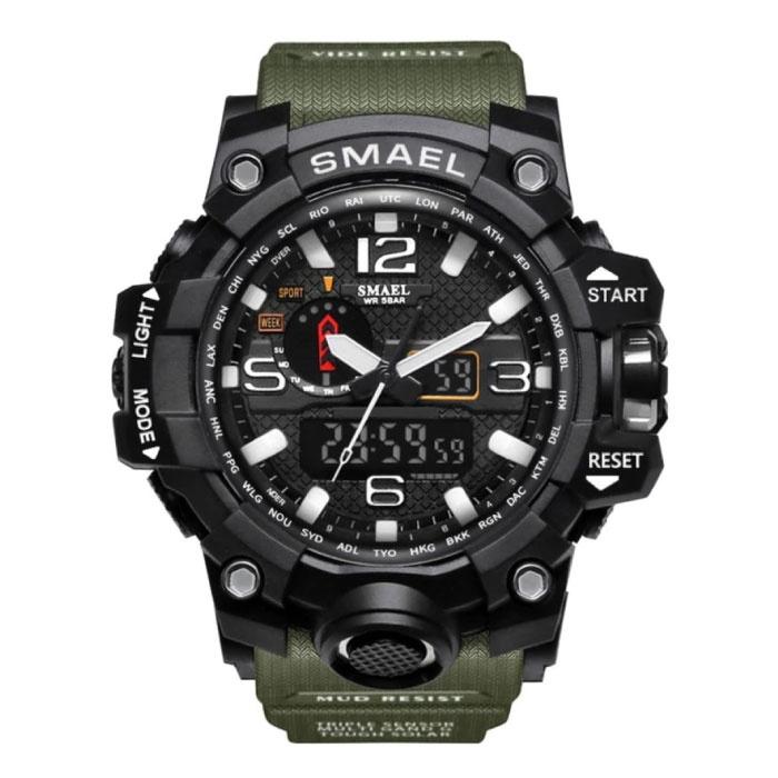 Military Dive Watch for Men - Rubber Strap Quartz Movement Analog Digital for Men Khaki