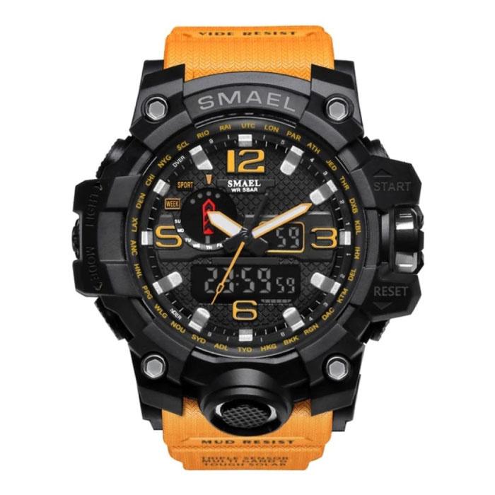 Military Dive Watch für Männer - Gummiband Quarzwerk Analog Digital für Männer Orange