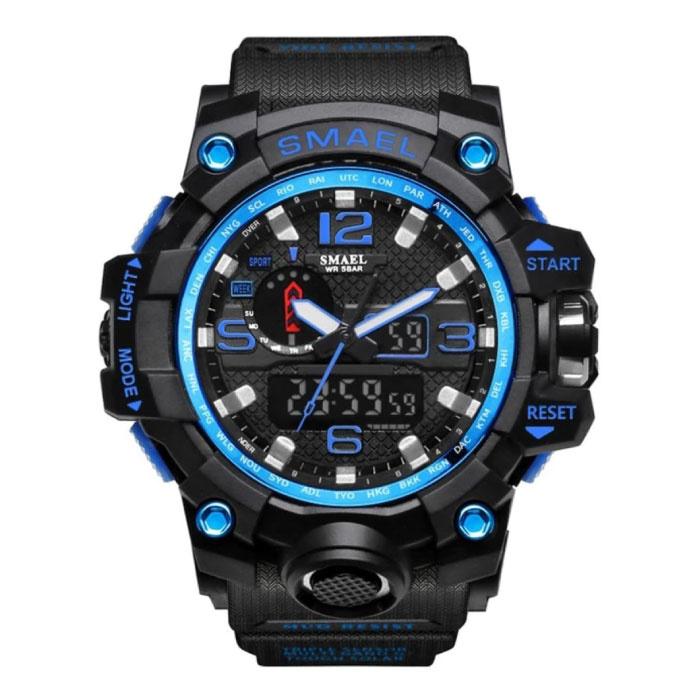 Montre de plongée militaire pour homme - Bracelet en caoutchouc Mouvement à quartz analogique numérique pour homme Bleu