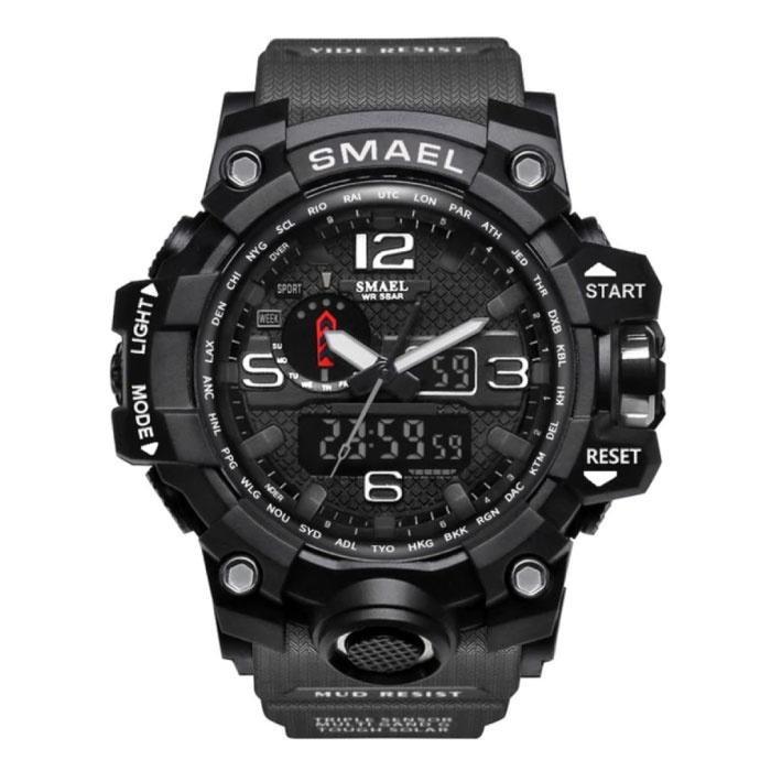 Military Dive Watch für Männer - Gummiband Quarzwerk Analog Digital für Männer Grau