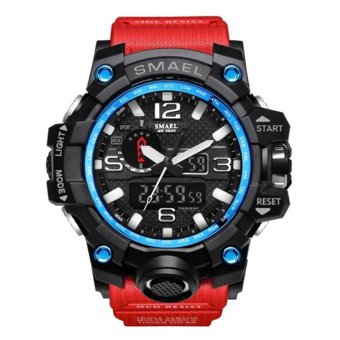 Military Dive Watch für Männer - Gummiband Quarzwerk Analog Digital für Männer Rot