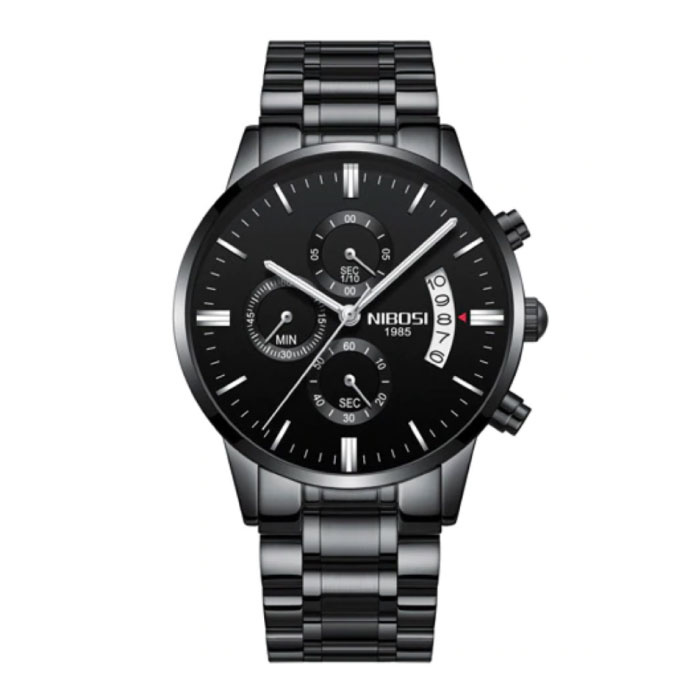 Stahluhr für Herren - Luxus Armband Anologue Uhrwerk für Herren Quarz Schwarz