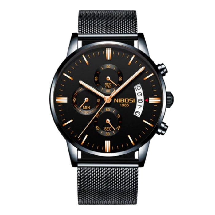 Staal Horloge voor Heren - Luxe Bandje Anoloog Uurwerk voor Mannen Kwarts Zwart