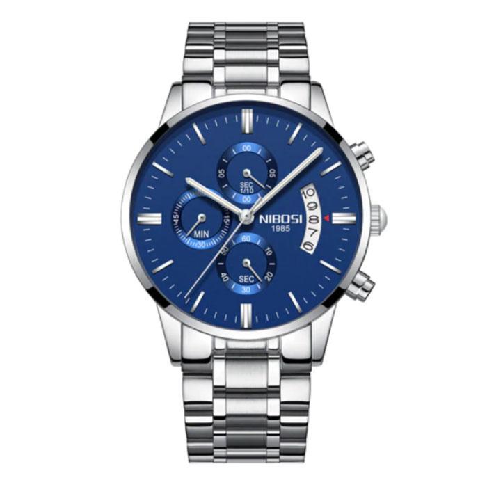 Staal Horloge voor Heren - Luxe Bandje Anoloog Uurwerk voor Mannen Kwarts Blauw