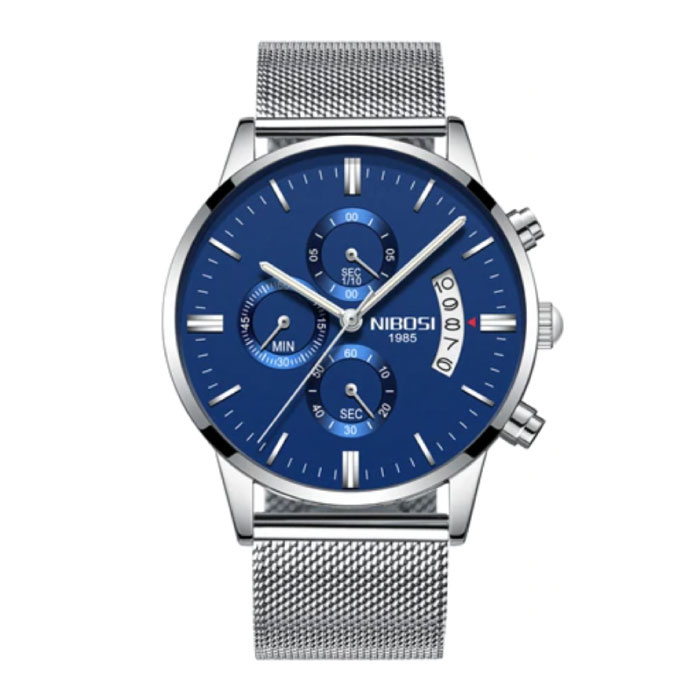 Stahluhr für Herren - Luxusarmband Anologue-Uhrwerk für Herren Quarzblau