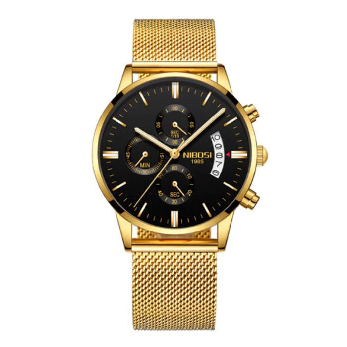 Stahluhr für Herren - Luxus Armband Anologue Uhrwerk für Herren Quarz Gold