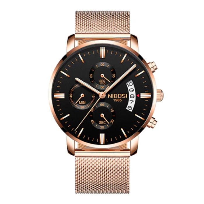 Staal Horloge voor Heren - Luxe Bandje Anoloog Uurwerk voor Mannen Kwarts Rose Gold