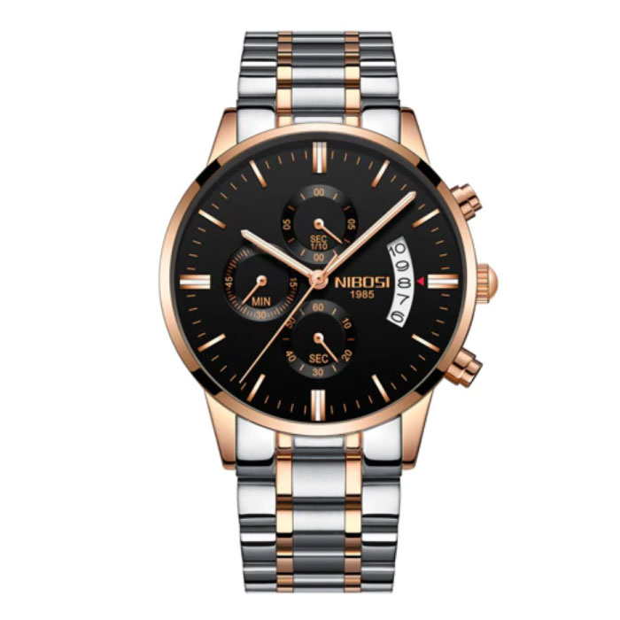 Staal Horloge voor Heren - Luxe Bandje Anoloog Uurwerk voor Mannen Kwarts Zilver