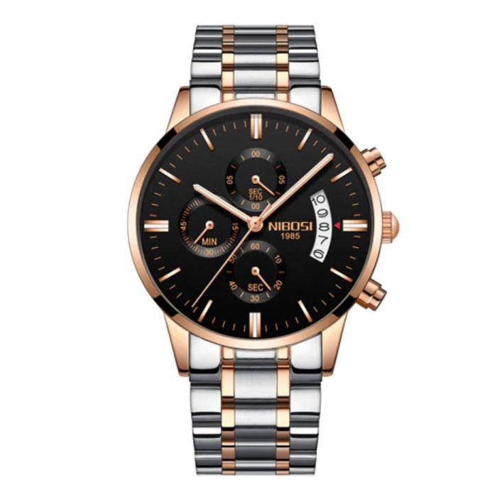 Stahluhr für Herren - Luxus Armband Anologue Uhrwerk für Herren Quarz Silber