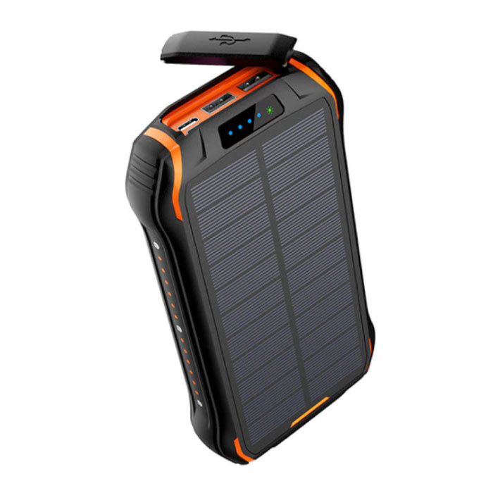 Qi Wireless Solar Power Bank with 3 Ports 26,800mAh - Built-in Flashlight - External Emergency Battery Charger Charger Orange