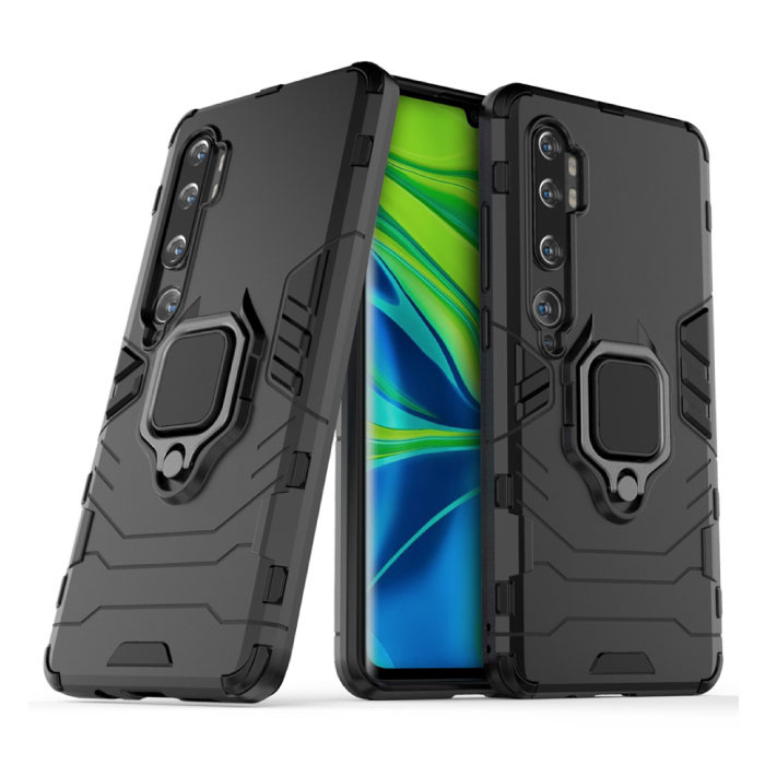 Xiaomi Redmi Note 9S Hoesje  - Magnetisch Shockproof Case Cover Cas TPU Zwart + Kickstand
