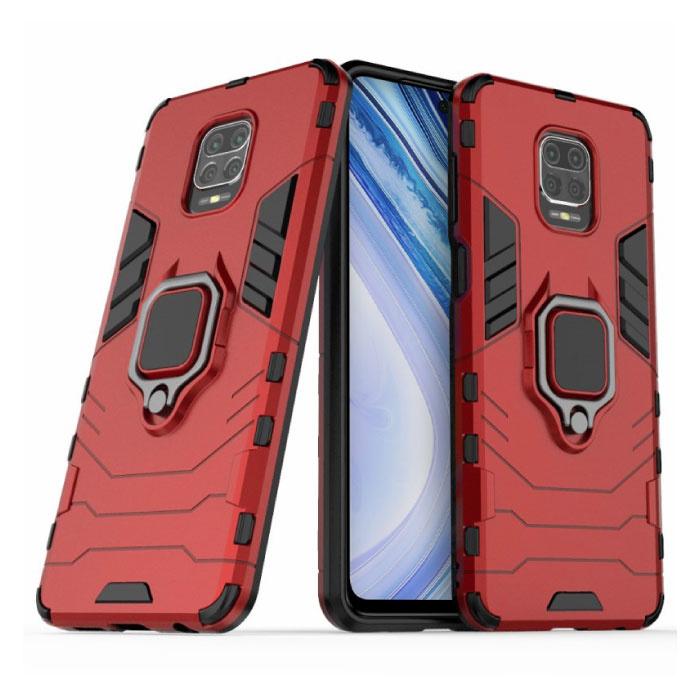 Xiaomi Redmi Note 8 Pro Hoesje  - Magnetisch Shockproof Case Cover Cas TPU Rood + Kickstand
