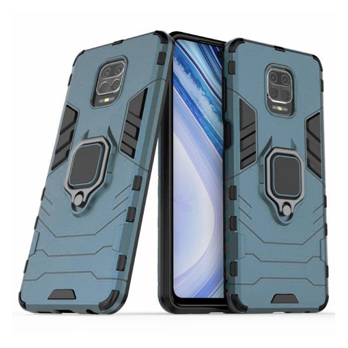 Xiaomi Redmi Note 9 Hoesje  - Magnetisch Shockproof Case Cover Cas TPU Blauw + Kickstand