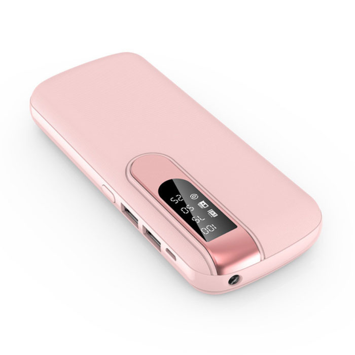 Powerbank 50,000mAh Dual 2x USB Port - LED Display and Flashlight - External Emergency Battery Charger Charger Pink