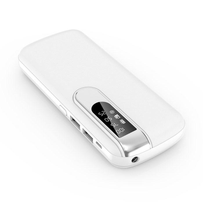 Powerbank 50.000mAh Dual 2x USB Poort  - LED Display en Zaklamp - Externe Noodaccu Oplader Charger Wit