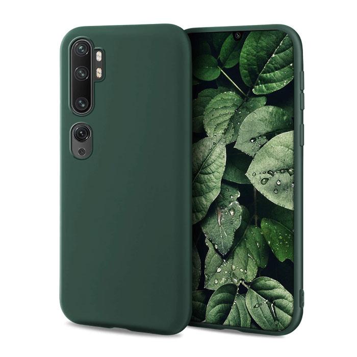 Xiaomi Mi Note 10 Lite Ultraslim Silicone Hoesje TPU Case Cover Donkergroen