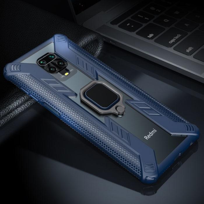 Xiaomi Redmi Note 9 Pro Max Hoesje  - Magnetisch Shockproof Case Cover Cas TPU Blauw + Kickstand