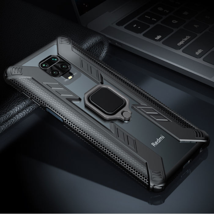 Xiaomi Redmi Note 9 Pro Hoesje  - Magnetisch Shockproof Case Cover Cas TPU Zwart + Kickstand