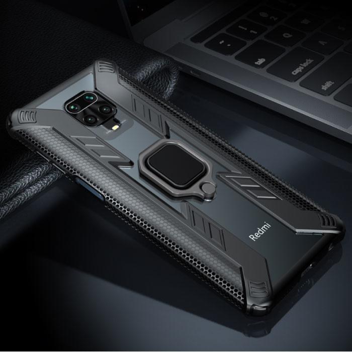 Xiaomi Redmi Note 8 Pro Hülle - Magnetische stoßfeste Hülle Cas TPU Schwarz + Ständer