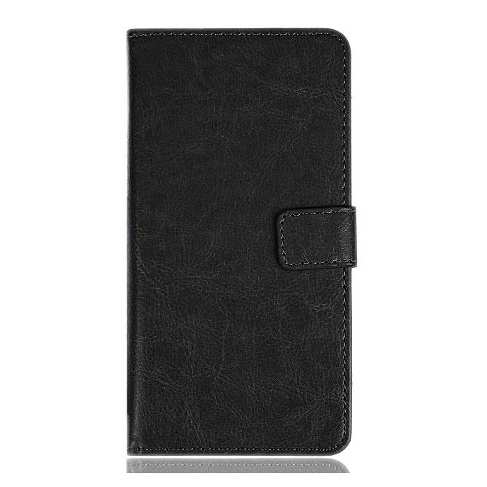 Étui en cuir à rabat Xiaomi Redmi 6A - Étui en cuir PU avec étui en cuir noir
