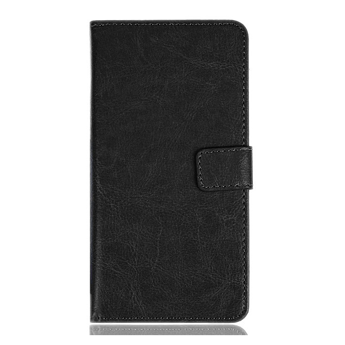Xiaomi Redmi 6A Leren Flip Case Portefeuille - PU Leer Wallet Cover Cas Hoesje Zwart