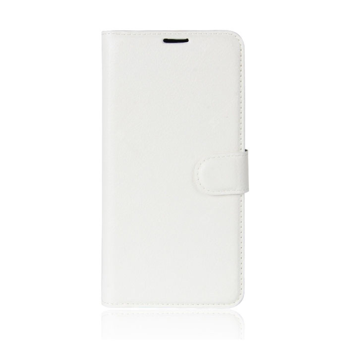 Xiaomi Mi 8 Lite Leather Flip Case Wallet - PU Leather Wallet Cover Cas Case White