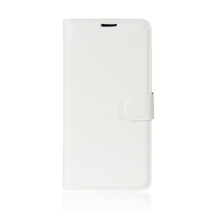 Xiaomi Redmi 8 Leather Flip Case Wallet - PU Leather Wallet Cover Cas Case White
