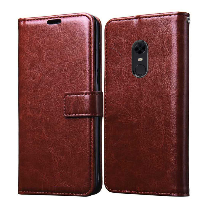 Xiaomi Redmi 5 Leather Flip Case Wallet - PU Leather Wallet Cover Cas Case Brown