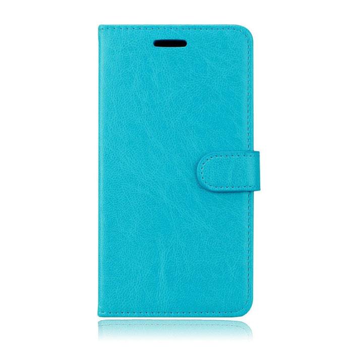 Xiaomi Mi 8 Lite Leather Flip Case Wallet - PU Leather Wallet Cover Cas Case Blue