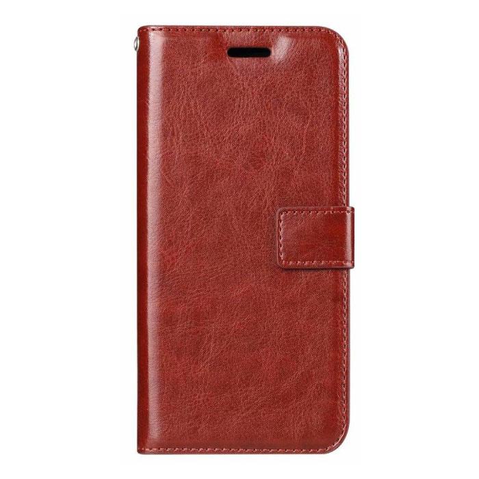 Étui en cuir à rabat Xiaomi Redmi Note 6 - Étui en cuir PU avec étui en cuir rouge