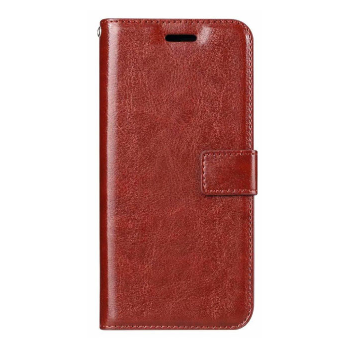 Xiaomi Redmi 6A Leather Flip Case Wallet - PU Leather Wallet Cover Cas Case Red