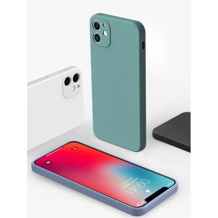 Custodia in silicone quadrata per iPhone 6 - Cover liquida morbida opaca Verde scuro
