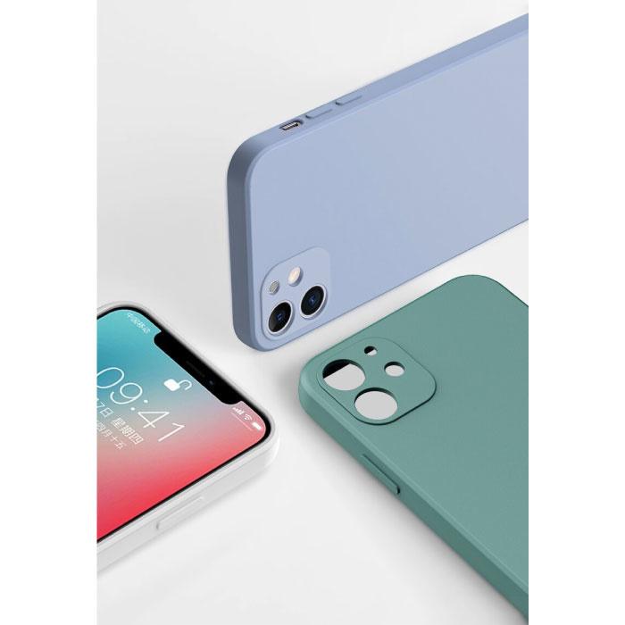 Custodia in silicone quadrata per iPhone 7 Plus - Cover liquida morbida opaca rossa