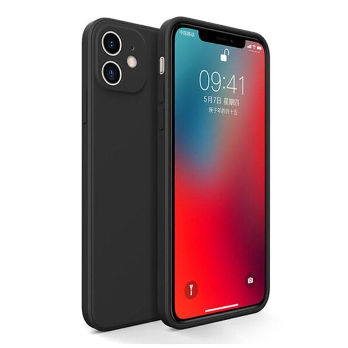 iPhone 12 Square Silicone Hoesje - Zachte Matte Case Liquid Cover Zwart