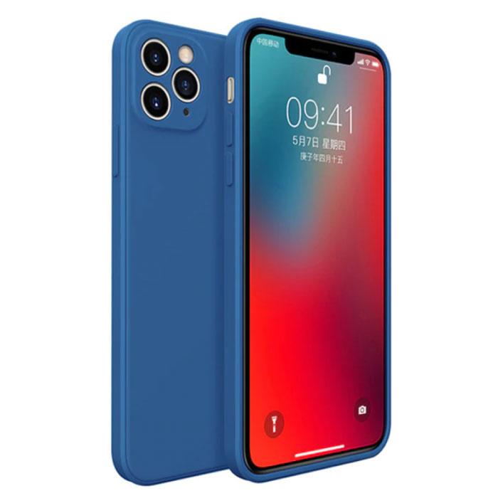 Coque iPhone 12 Mini Carrée en Silicone - Coque Souple Matte Liquid Cover Bleu