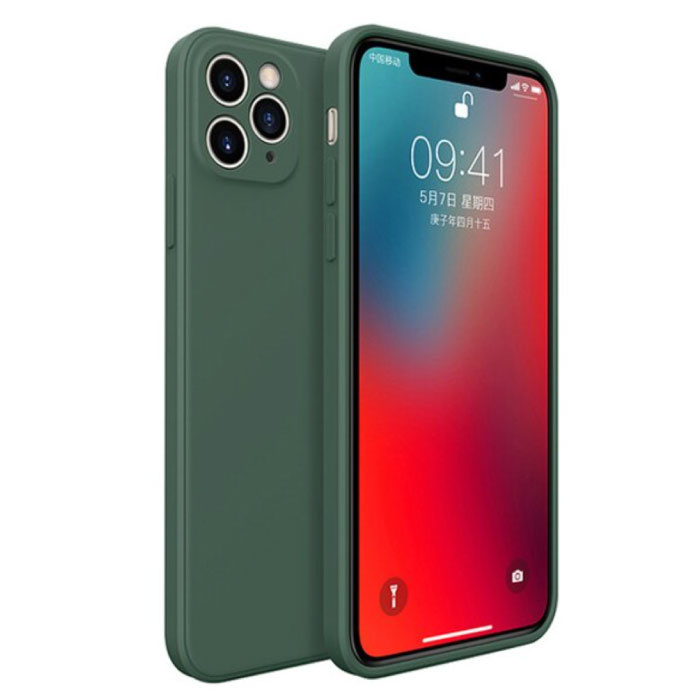 iPhone XR Square Silicone Hoesje - Zachte Matte Case Liquid Cover Donkergroen