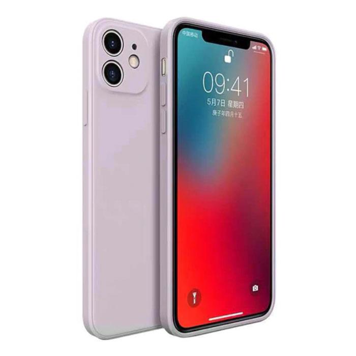 iPhone 12 Pro Square Silicone Hoesje - Zachte Matte Case Liquid Cover Grijs