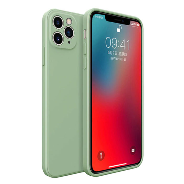 Coque Silicone Carrée iPhone 12 - Coque Souple Matte Liquid Cover Vert